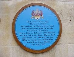 A blue plaque outside The Eagle pub commemorating Crick and Watson