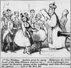"A British cartoon, satirising the ""wedding"" of Belgium and the Netherlands at the Congress of Vienna"