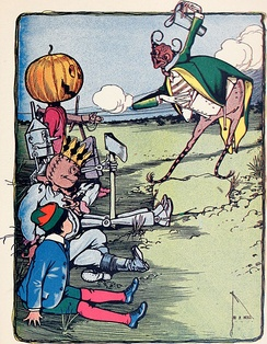 Jack Pumpkinhead, Tin Woodman, Scarecrow, and Tip meet the Woggle-Bug