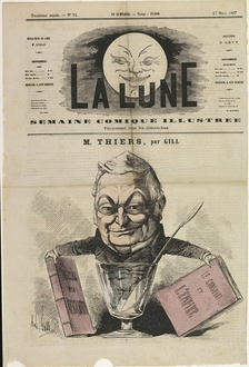 A caricature of Thiers with his history of the Consulate, by André Gill (1867)