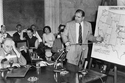Joseph N. Welch (left) being questioned by Senator Joe McCarthy (right), June 9, 1954