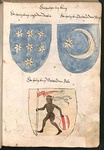 "Coats of arms of the Three Magi, with ""Baltasar of Tarsus"" being attributed a star and crescent increscent in a blue field, Wernigerode Armorial (c. 1490)"