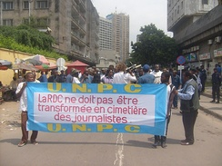 Congolese journalists protesting in Kinshasa, 2009.[54]