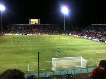 Adelaide United playing against Jeonbuk Hyundai Motors in the AFC Champions League in 2010.