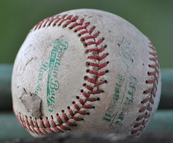 A well-worn baseball