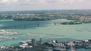 Aerial view of the Auckland Harbour Bridge