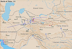 Battle of Talas between Tang dynasty and Abbasid Caliphate c. 751