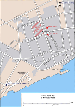 Map of the main battle sites during the Battle of Mogadishu