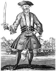 Engraving of the English pirate Blackbeard from the 1724 book A General History of the Pyrates. The book is the prime source for many famous pirates of the Golden Age.[113]