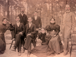 J.A. Campbell (far right) and his faculty at Buies Creek Academy in the late 1800s.