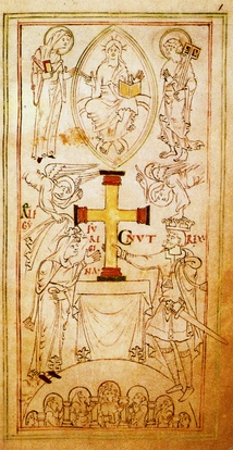 Angels crown Cnut as he and Emma of Normandy[73] (Ælfgifu) present a large gold cross to Hyde Abbey in Winchester. From the Liber Vitae in the British Library.