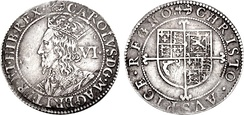 "Sixpence of Charles I, inscribed: CAROLUS D(EI) G(RATIA) MAG(NAE) BRIT(ANNIAE) FR(ANCIAE) ET HIB(ERNIAE) REX (""Charles, by the grace of God, King of Great Britain, of France and of Ireland"")"