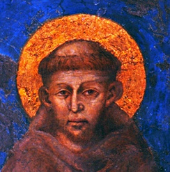 A portrait depicting Saint Francis of Assisi by the Italian artist Cimabue (1240–1302)