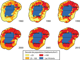 Рост плотности населения вокруг озера Виктория
