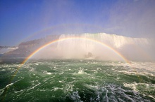 Rainbows can form in the spray of a waterfall (called spray bows).