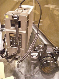 Kodak DCS 100, based on a Nikon F3 body with Digital Storage Unit, released in May 1991