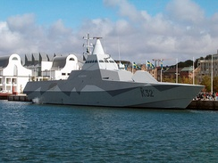 A Visby-class corvette incorporating stealth technology