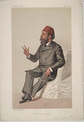 Caricature of Hasan Fehmi Pasha by Leslie Ward in the 16 May 1885 issue