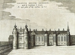 The west range of the palace drawn around 1649 by James Gordon of Rothiemay, prior to reconstruction in the 1670s.