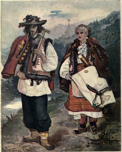 Portrait of Hutsuls, living in the Carpathian mountains, 1902