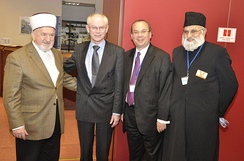 First Gathering of European Muslim and Jewish leaders in Brussels, December 2010 hosted by the Foundation for Ethnic Understanding - left to right: Grand Mufti Mustafa Ceric - European Council President Herman Van Rompuy - Rabbi Marc Schneier - Imam Dr. Abdujalil Sajid