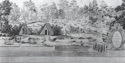 View of the camp of John Law at Biloxi, December 1720