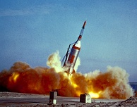 Launch of the Little Joe booster from Wallops Island, to test the Project Mercury capsule, 1960.