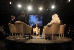 Then-CNBC Europe journalist Louisa Bojesen moderates a debate at the 2009 World Economic Forum on the Middle East in Jordan.
