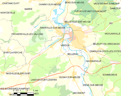 Map of Verdun and the vicinity (commune FR insee code 55545)