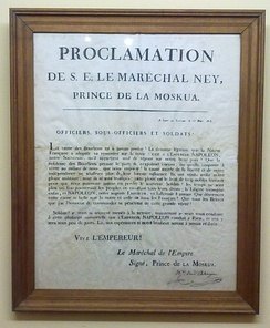 A public proclamation by Ney, dated March 1815, urging French soldiers to abandon the king and to support Napoleon