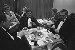 Sharif playing contract bridge in the Netherlands, 1967