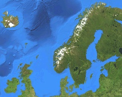 Satellite map of the Nordic countries