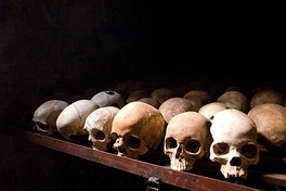 Human skulls at the Nyamata Genocide Memorial