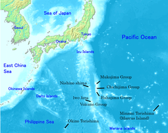 Map of the Ogasawara Islands in black labels