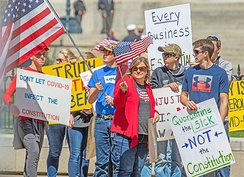 Several hundred anti-lockdown protesters rallied at the Ohio Statehouse 20 April.[922]