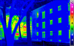 "Thermographic comparison of traditional (left) and ""passivhaus"" (right) buildings"