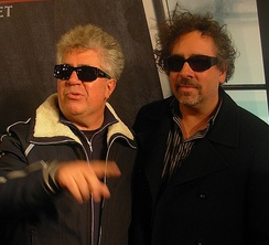 Tim Burton (right) and Pedro Almodóvar (left) at the première of Sweeney Todd: The Demon Barber of Fleet Street in Madrid, in 2007