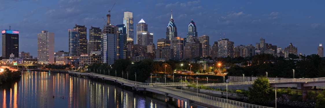 Skyline at twilight from the southwest on the South Street Bridge over the Schuylkill River, 2016 (annotated version)
