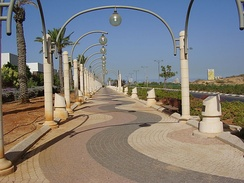 Boardwalk (Tayelet Hatnei Pras Nobel) with cenotaphs of Jewish Nobel Prize laureates in Rishon LeZion