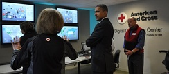 October 30, 2012, President Barack Obama visits the American Red Cross Digital Command Center following Hurricane Sandy