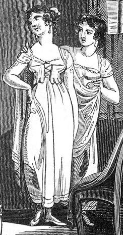 "1811 illustration of underclothes, showing one form of Regency ""stays"""