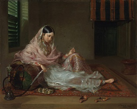 A woman in Dhaka clad in fine Bengali muslin, 18th century