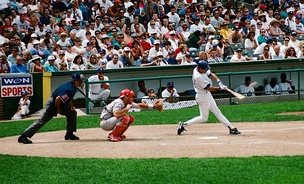 Sandberg hits a double at Wrigley Field, 1996