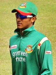 Shakib Al Hasan (pictured in 2009) became the only cricketer in the World Cup history with 600 runs and 10 wickets.[76]