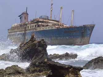 The shipwreck of SS American Star on the shore of Fuerteventura