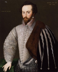 "Crawford v. Washington (2004) referred to Sir Walter Raleigh's (pictured) inability to cross-examine Henry Brooke, 11th Baron Cobham as one of the ""most notorious instances of civil-law examination.""[45]"