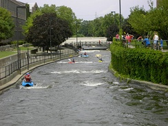 Rafters enjoying the East Race in South Bend, Indiana