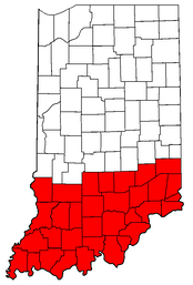 Highlighted are the counties of Southern Indiana.