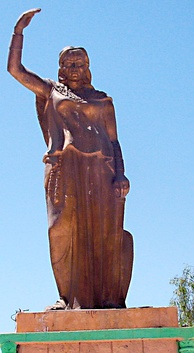 A statue of Kahina, a seventh-century female Berber religious and military leader