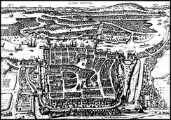 Old Stettin with fortifications, 1575